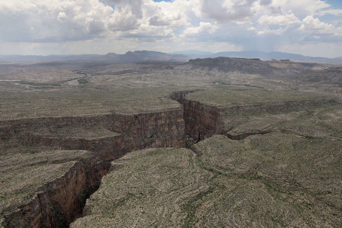The Rio Grande forms the U.S.-Mexico border while winding through the Santa Elena Canyon in the Big Bend region on August 1, 2017 as seen from a U.S. Customs and Border Protection helicopter near Lajitas, Texas.