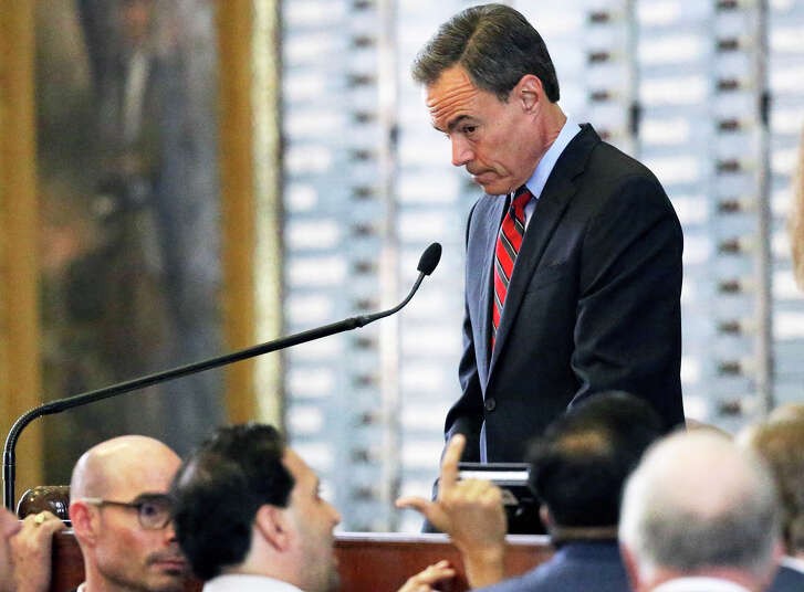 House Speaker Joe Straus hears a point of order made which caused a postponement of property tax legislation  on the floor of the House at the Texas Capitol on May 18, 2017.