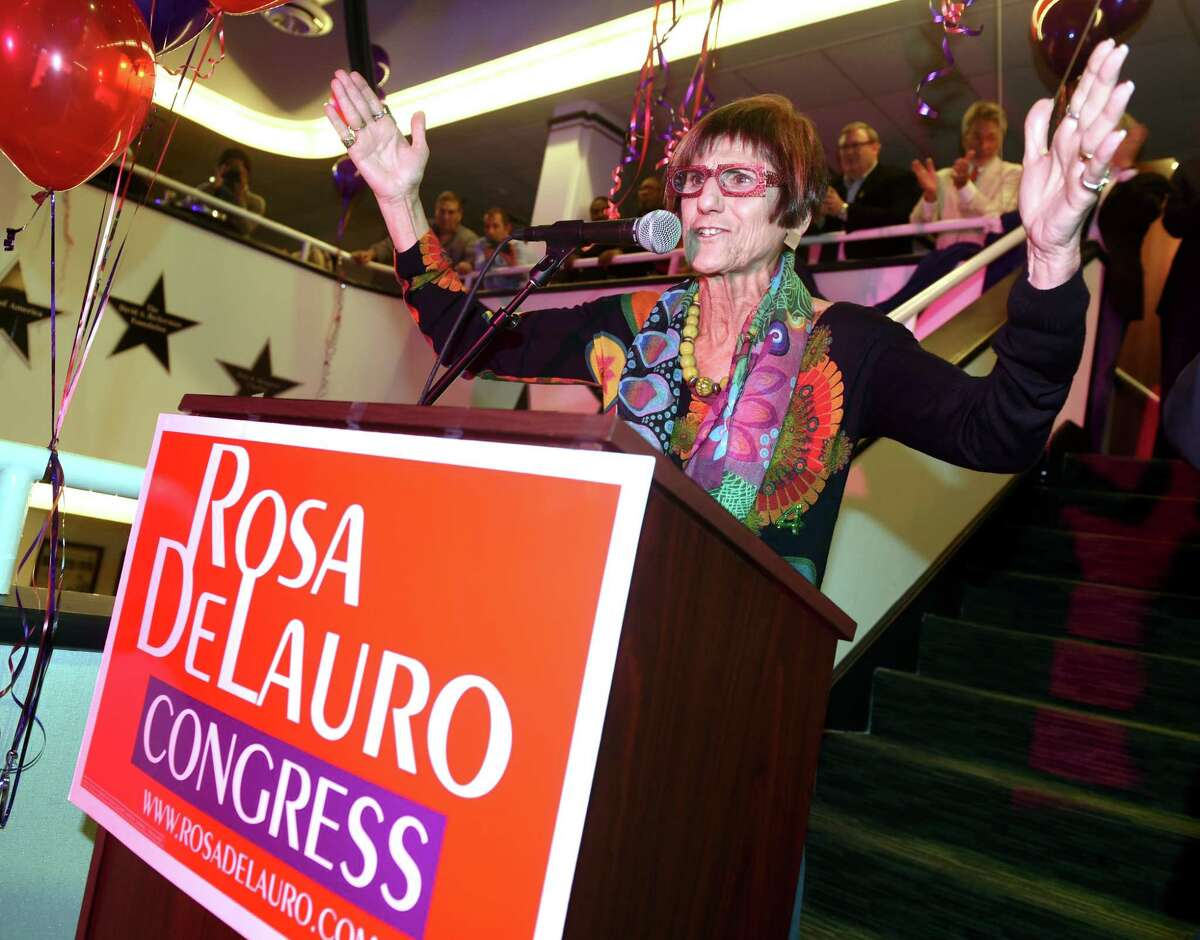 (Arnold Gold-New Haven Register) U.S. Rep. Rosa DeLauro celebrates her reelection at the Shubert Theatre in New Haven on 11/8/2016.