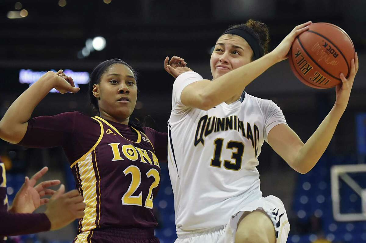 Quinnipiac forward Sarah Shewan elevates to the hoop as Iona guard Amelia Motz defends as the Bobcats defeat the Gaels, 53-45, Friday, Feb. 17, 2017, at the TD Bank Sports Center at Quinnipiac University in Hamden.