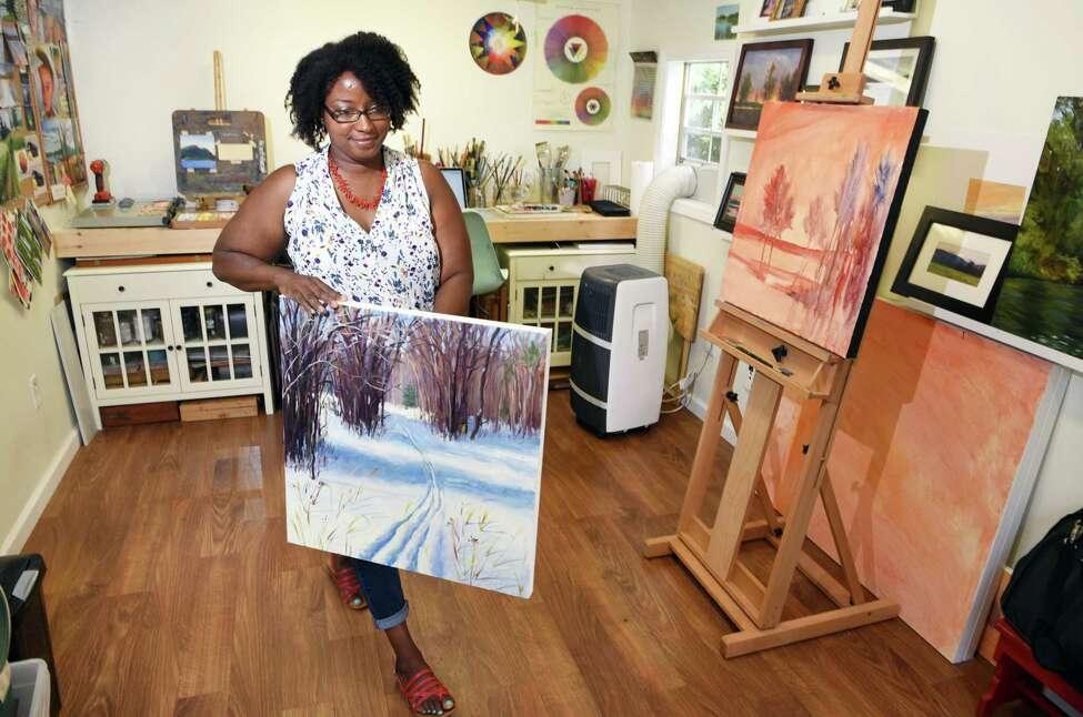 Takeyce Walter inside her backyard studio Wednesday July 12, 2017 in Round Lake, NY. (John Carl D'Annibale / Times Union)