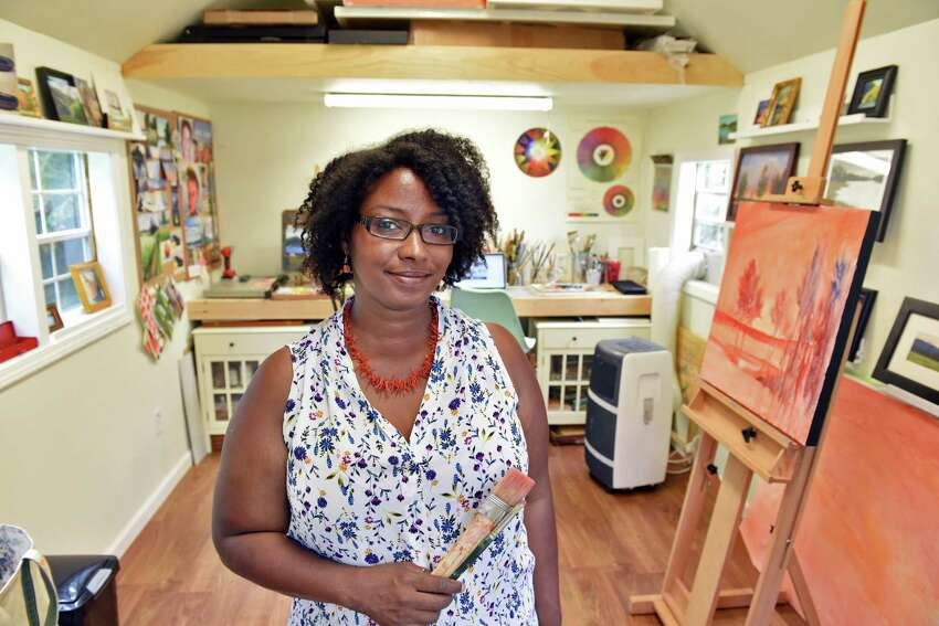 Takeyce Walter inside her backyard studio Wednesday July 12, 2017 in Round Lake, NY. (John Carl D'Annibale / Times Union)