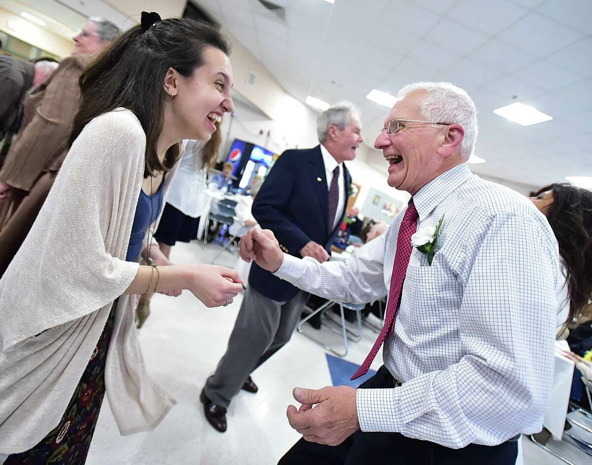 """The Human Relations Club at Ansonia High School held their annual """"senior"""" prom where the area's senior citizens and the area's high school students gathered for inter-generational fun, food and dancing, Thursday, April 7, 2016. (Catherine Avalone/New Haven Register)"""