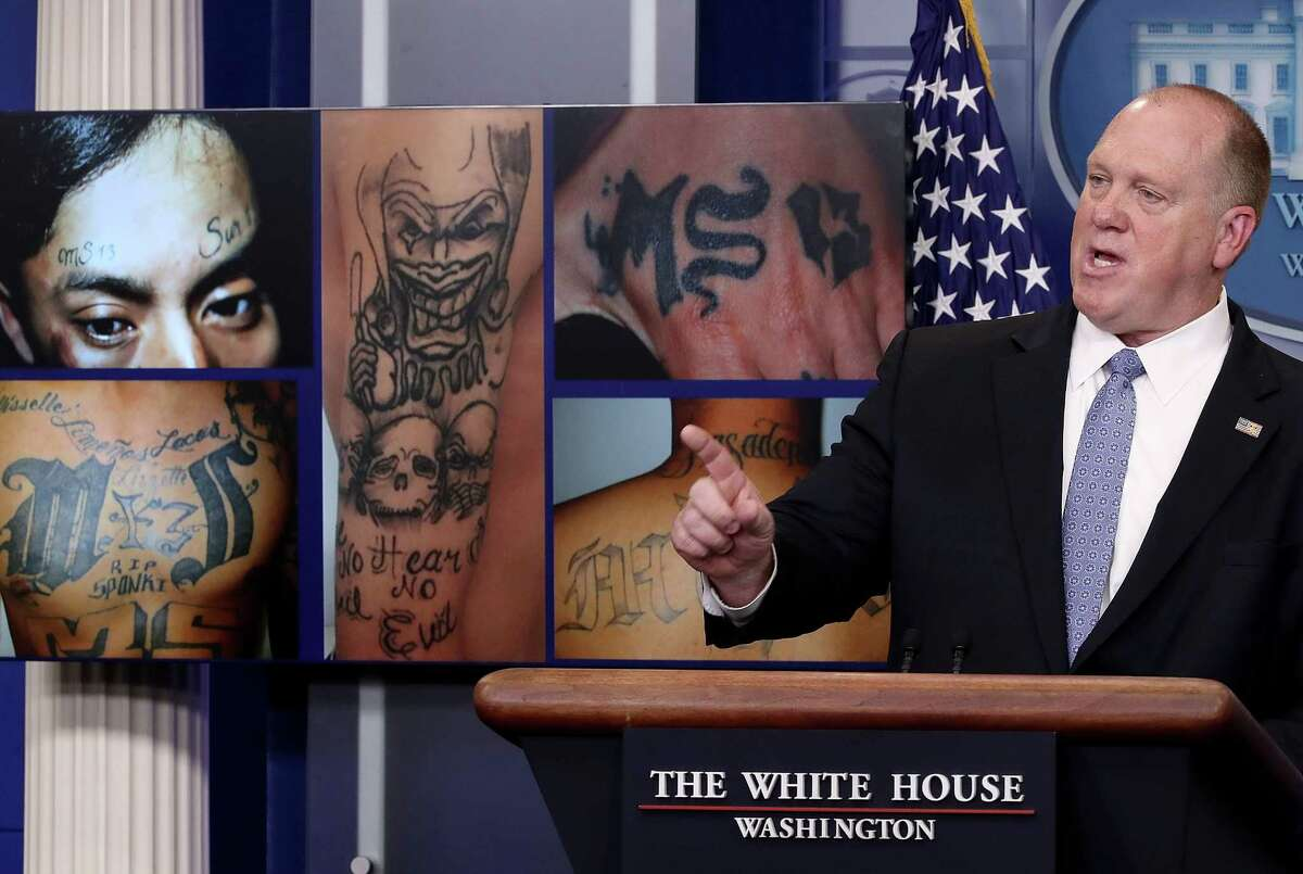 WASHINGTON, DC - JULY 27: Tom Homan, Director of Immigration and Customs Enforcement, answers questions in front of gang related photos from the MS-13 gang during a daily briefing at the White House July 27, 2017 in Washington, DC. Homan answered a range of questions during the briefing. (Photo by Win McNamee/Getty Images)