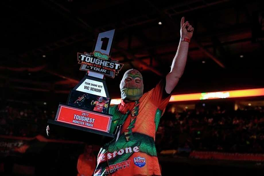 Vinny Venom and Snake Bite claimed the 2017 Toughest Monster Trucktitle in May. He will return to Saginaw in March to defend his title as part of theToughest Monster Truck Tour.  (toughestmonstertrucks.com)