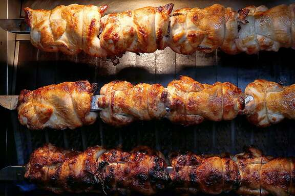 Chicken on the rotisserie at RT Rotisserie on Monday, July 31, 2017, in San Francisco, Calif.