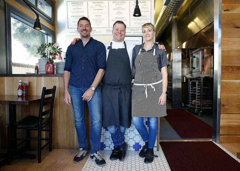 FILE-- Partners Johnny Gilbert (left), Evan Rich (middle), and Sarah Rich at the original RT Rotisserie. Photo: Liz Hafalia / The Chronicle