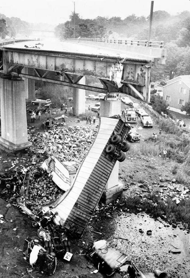 June 29, 1983 Greenwich Time file photo of the wreckage from the collapse of the Mianus Bridge. Photo: File Photo / Greenwich Time File Photo