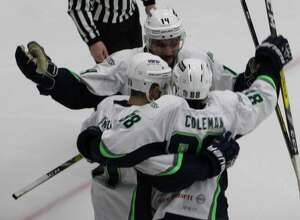 The Danbury Titans celebrate Dean Yakura's first-period goal against the Berlin River Drivers during Game 1 of the Federal Hockey League's Commissioner's Cup semifinals at the Danbury Arena April 7, 2017.