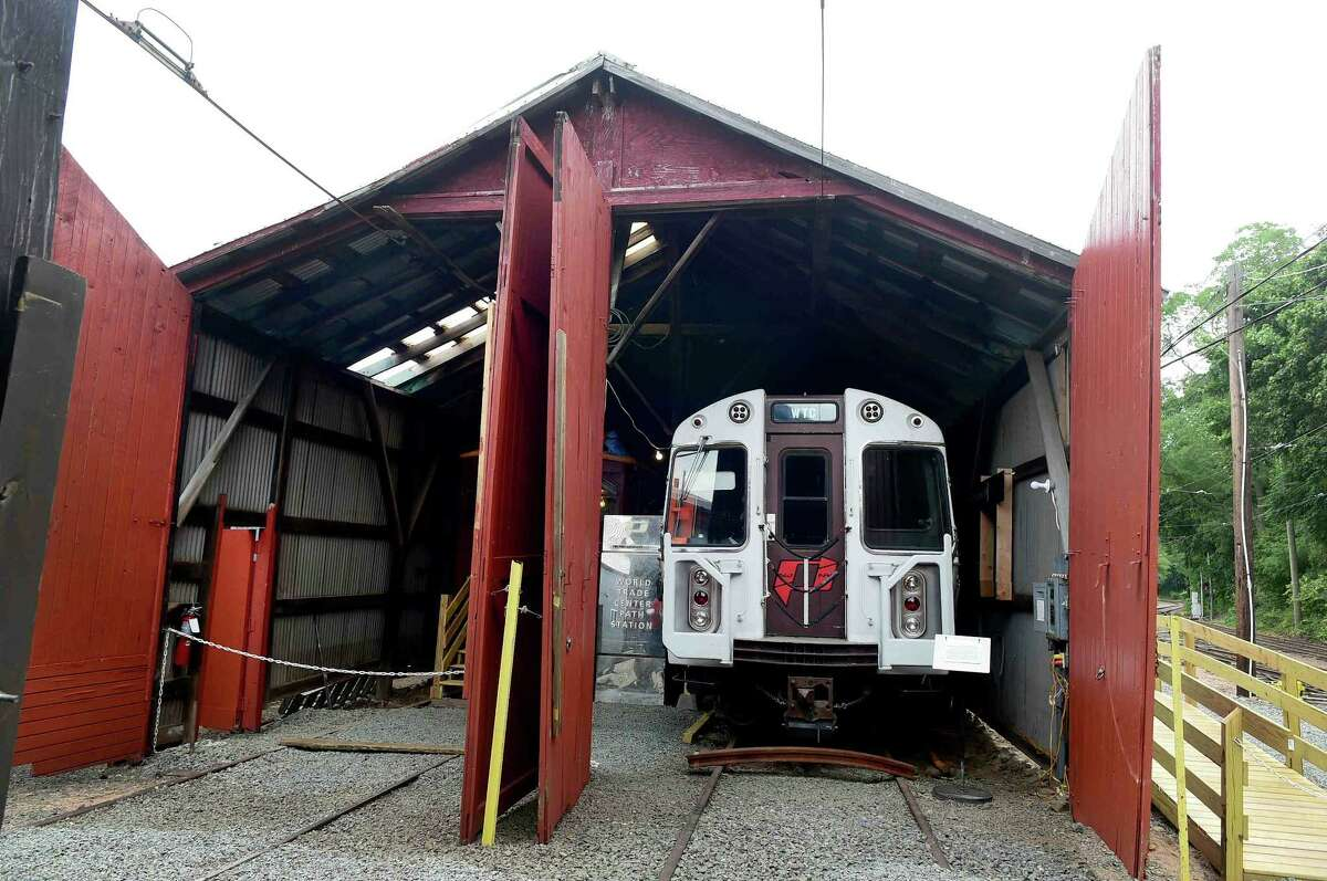 (Peter Hvizdak - New Haven Register) PATH Car 745, which was in the PATH subway station under the North Tower of the World Trade Center and survived the 9/11 terrorist attack, has been restored at the Shore Line Trolley Museum in East Haven, Connecticut. The PATH Car 745 will be open to the public after a dedication ceremony Sunday, September 11, 2016 at the museum.The subway car, in the permanent collection at the Shore Line Trolley Museum, is one of two that were found in a cast iron tunnel which enabled them to withstand the pressures from the collapsing World Trade Center building above. On the morning of September 11, 2001, the car was sent to the World Trade Center to pick up passengers, but none were found inside when the car was discovered during excavation.