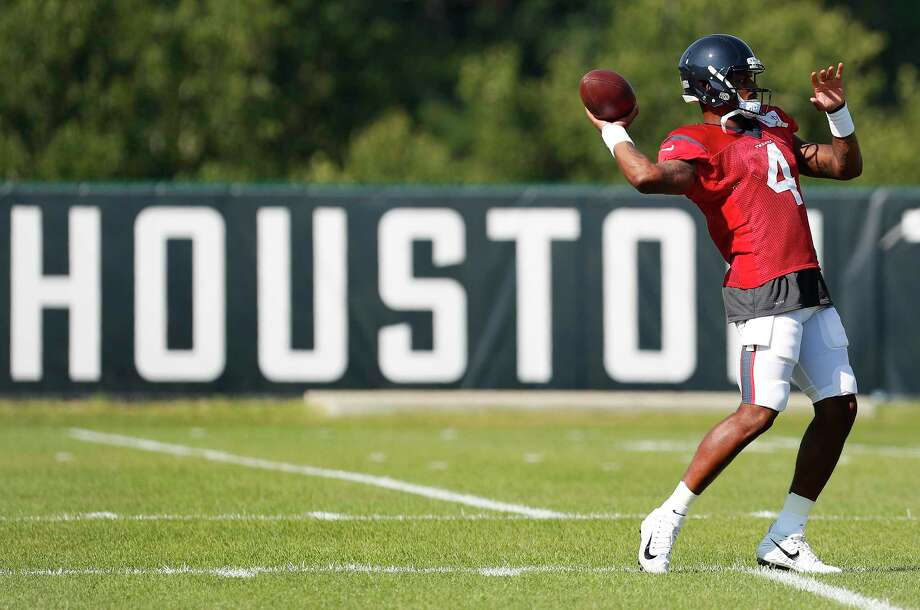 Houston Texans quarterback Deshaun Watson throws a pass during training camp at the Greenbrier on Wednesday, Aug. 2, 2017, in White Sulphur Springs, W.Va. Photo: Houston Chronicle / © 2017 Houston Chronicle}