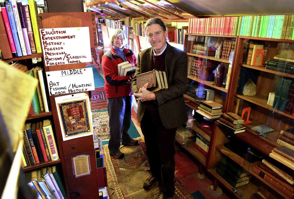 (Peter Hvizdak - New Haven Register) New Haven attorney Norm Pattis, owner of Whitlock's Book Barn bookstore in Bethany and its manager Meg Turner Wednesday, November 23, 2016 in the book barn.