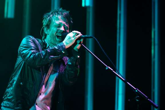 Singer Thom Yorke of Radiohead performs at the Molson Amphitheater in Toronto on Friday, Aug. 15, 2008 as they wind down their North American tour. (AP Photo/The Canadian Press, Jim Ross)