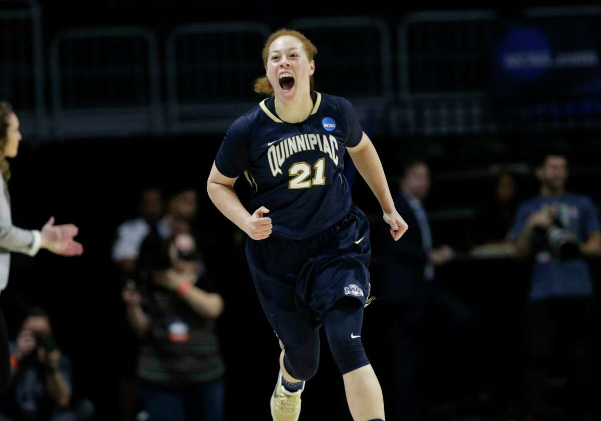 Quinnipiac 's Adily Martucci (3) reacts after shooting a three pointer during the first half of a first round game against Marquette in the NCAA women's college basketball tournament, Saturday, March 18, 2017, in Coral Gables, Fla.