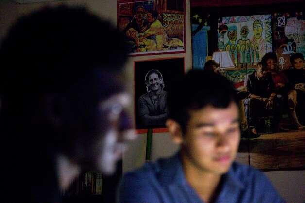 A poster of Matthew Russell hangs in the classroom of Iconoclast poetry teacher Paul Nagi, at Sharpstown High School. Photo: Jon Shapley, Houston Chronicle / © 2017 Houston Chronicle