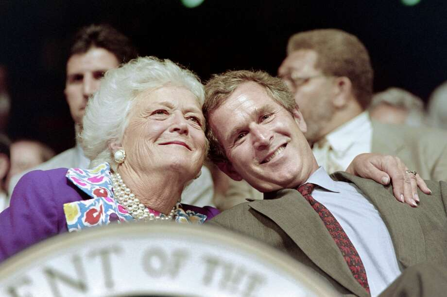 US First Lady Barbara Bush and her son George Bush Jr attend the 1992 Republican National Convention on August 17, 1992 in Houston.   AFP PHOTO CHRIS WILKINS        (Photo credit should read CHRIS WILKINS/AFP/Getty Images) Photo: CHRIS WILKINS/AFP/Getty Images