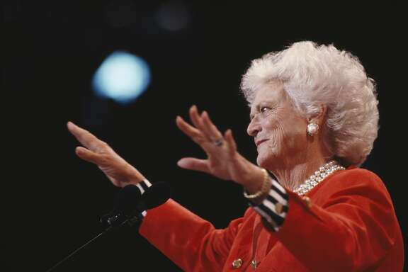 Barbara Bush speaks at the Republican National Convention during the Presidential election campaign. (Photo by Larry Downing/Sygma/Sygma via Getty Images)