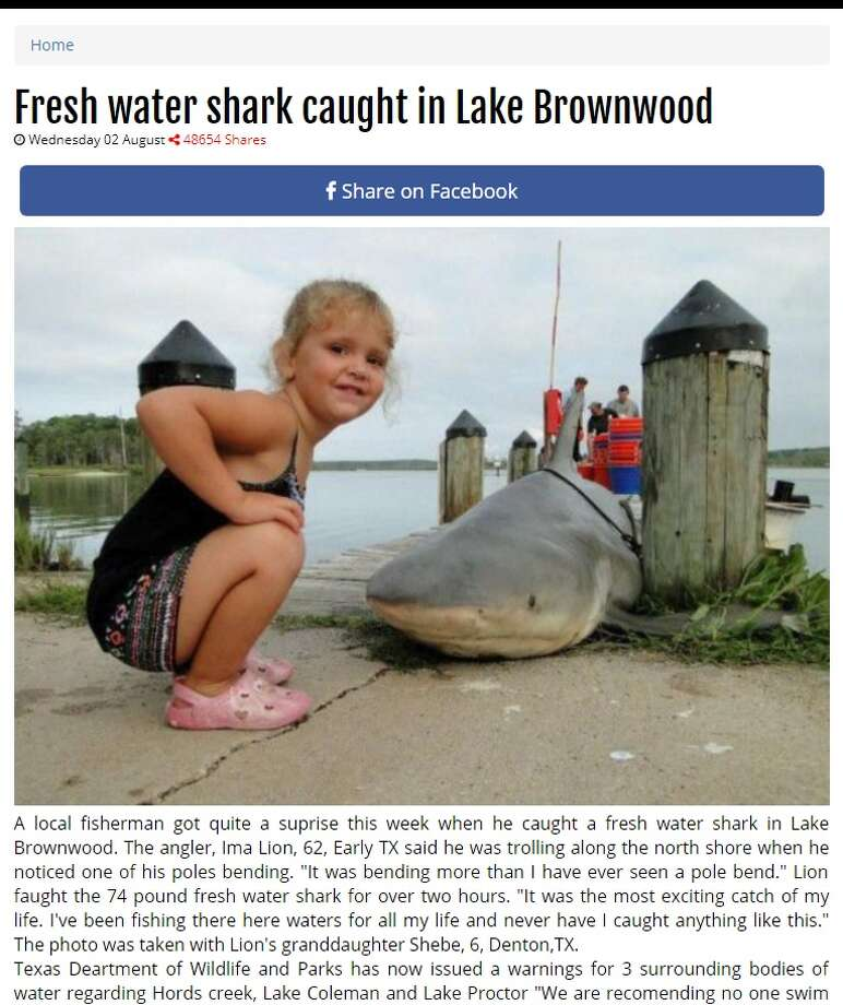 A fabricated story that circulated on social media Aug. 1, 2017 had Texans calling the Texas Parks and Wildlife Department for fear of a shark near Abilene at Lake Brownwood. Photo: Screengrab Of Breakingnews247.net