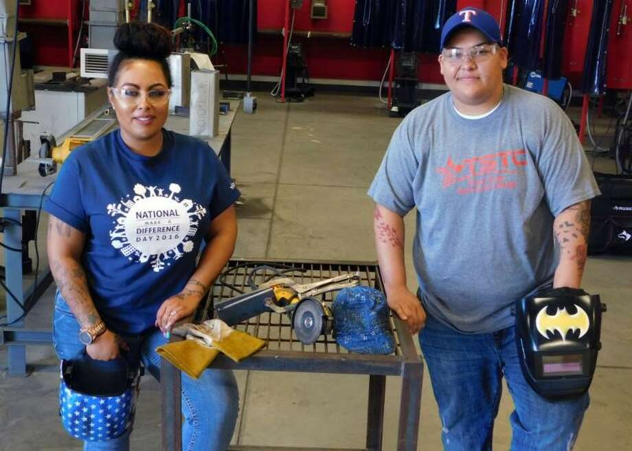 April Thompson (left) and Sara Rivera (right) are the only two women enrolled in TSTC's Welding Technology. They want to let other women know that there is no need to feel afraid or intimidated when pursuing a male-dominated career. Photo: Texas State Technical College