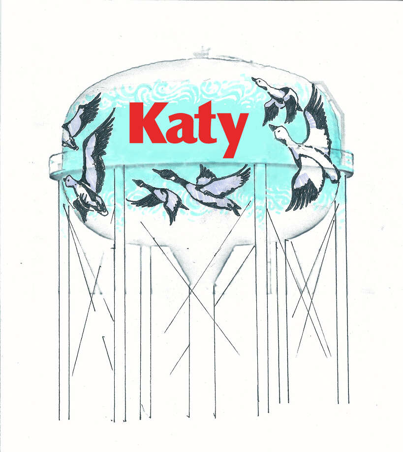 Katy Approves Mural On Water Tower Houston Chronicle - Cartoon mural man obsessing facebook likes says lot society