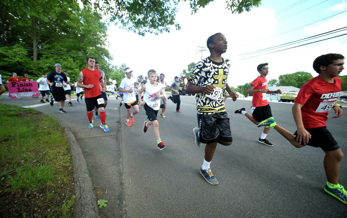 The second annual Leah's Dragonfly Dash, a 3.1 mile race walk honoring Leah Rondon, held in front of Mead School in Ansonia on 6/2/2017. Rondon died after being hit by a car in 2015. Photo by Arnold Gold/New Haven Register agold@newhavenregister.com