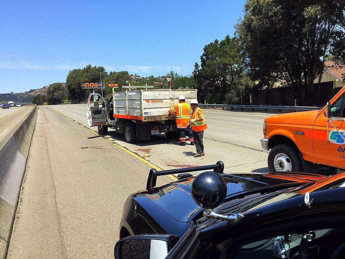 Caltrans workers cleared a dead deer from the road, according to CHP.