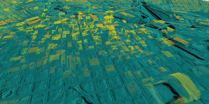 Data from LiDAR technology are used to build a three-dimensional image of the landscape.