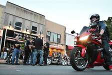 """August 20, 2014 - Five thousand motorcycles converged on Main Street in Middletown in what may have been the largest showing of bikes in the history of Middletown's Motorcycle Mania Wednesday night. The 9th annual event, sponsored by the Middlesex County Chamber of Commerce, featured musician Elliot Lewis, who has appeared on """"Live from Daryl's House on the Music Channel,"""" with Daryl Hall of Hall & Oates. (Catherine Avalone/The Middletown Press."""
