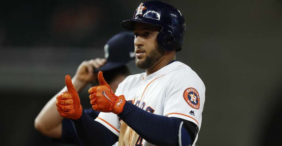 Astros right fielder George Springer said he is feeling better as he works through discomfort in his quadriceps but also that he is unsure of when he will return to the lineup. Photo: Karen Warren/Houston Chronicle