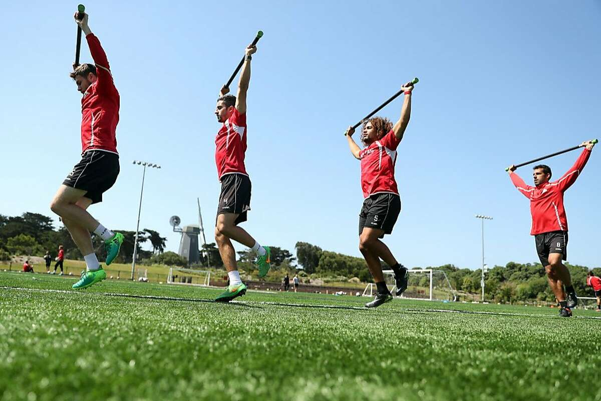 San Francisco Deltas' Maxim Tissot, Tyler Gibson, Kenny Teijsse and Cristian Portilla practice at Beach Chalet Soccer Fields in San Francisco, Calif., on Thursday, June 22, 2017.