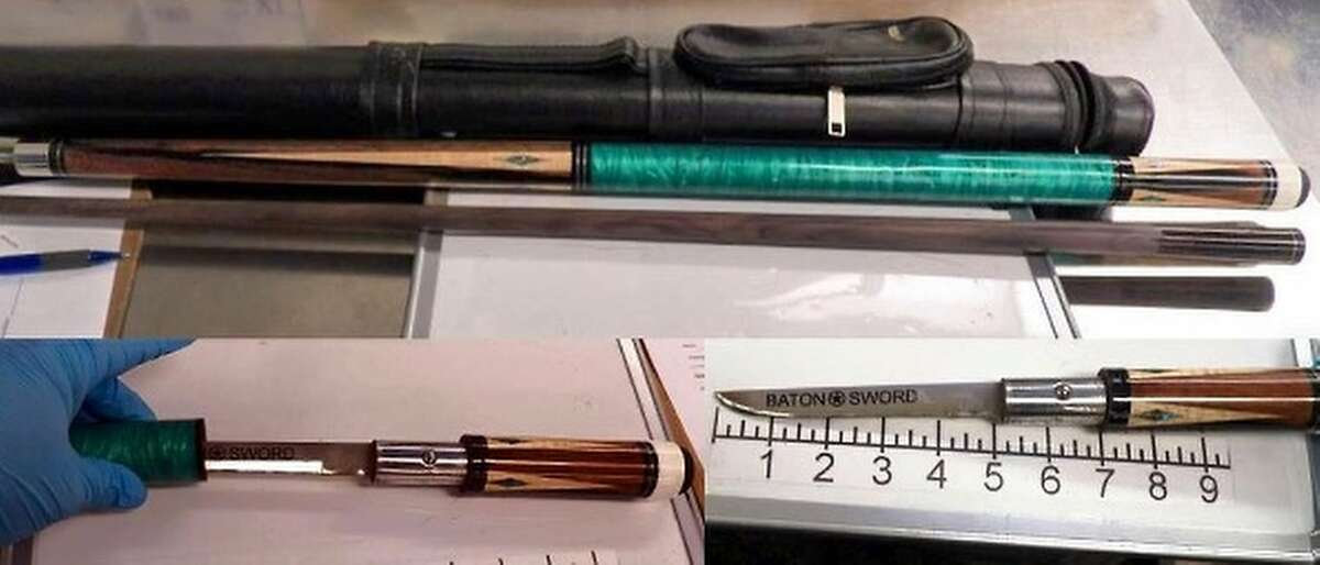 """TSA: """"A Milwaukee (MKE) traveler found himself behind the eight ball after this concealed knife was discovered in his pool cue. All knives are prohibited, and concealed knives can lead to fines and arrest. #Scratch"""""""