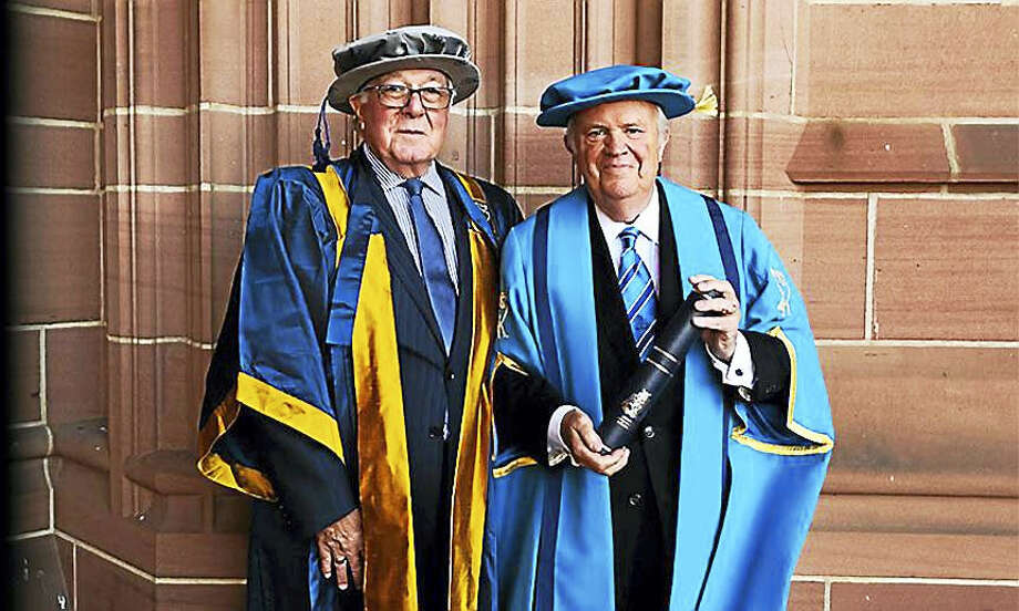 Lawrence DeNardis, left, with his friend Sir Malcolm Thornton Photo: Contributed Photo / Liverpool John Moores University