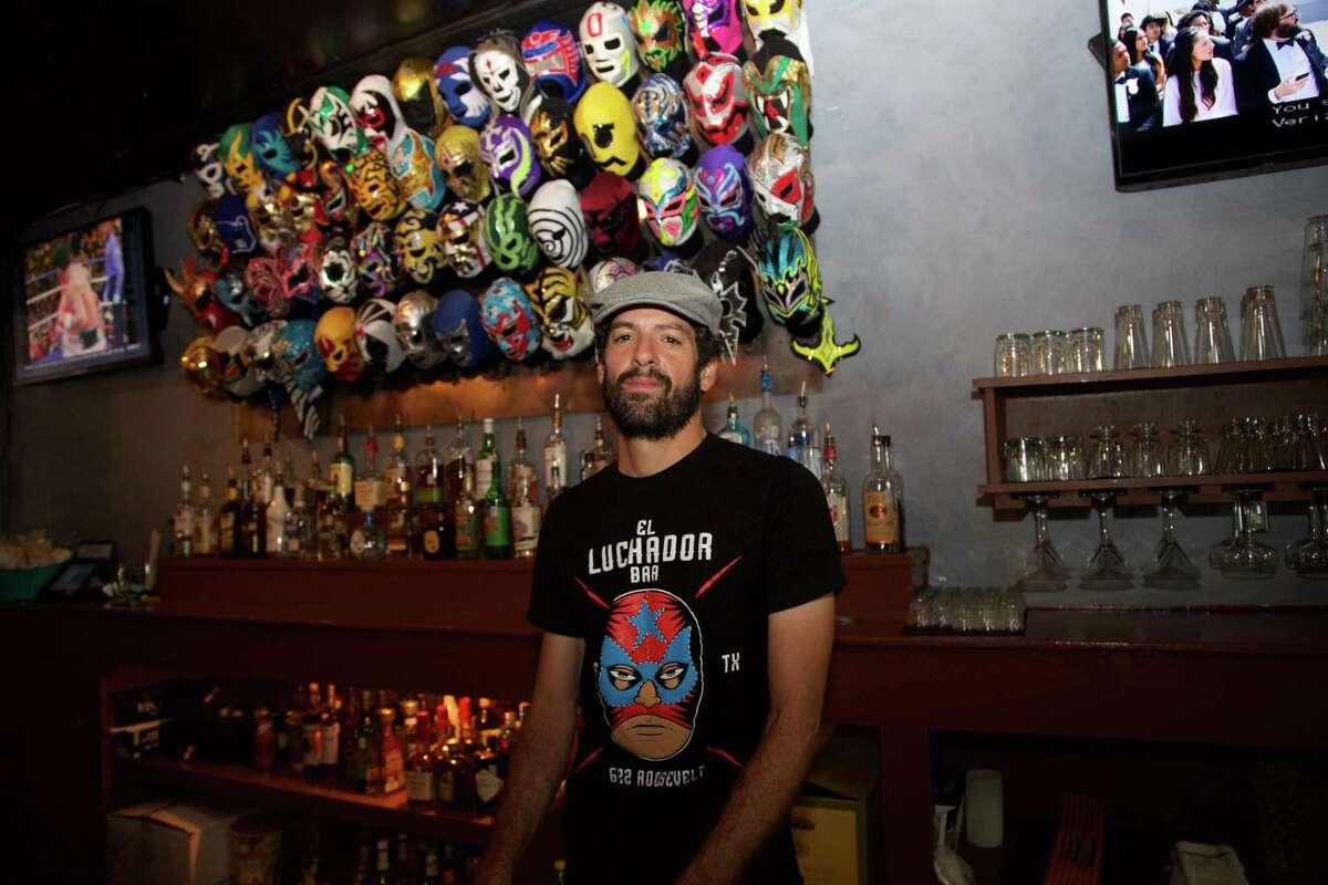 Freddie Diaz is behind the bar at El Luchador Bar.