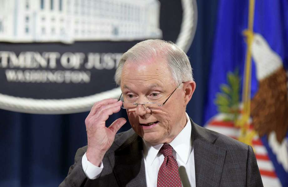 Susan Walsh / associated press   Attorney General Jeff Sessions speaks during a news conference at the Justice Department in Washington. Photo: AP / Copyright 2017 The Associated Press. All rights reserved.