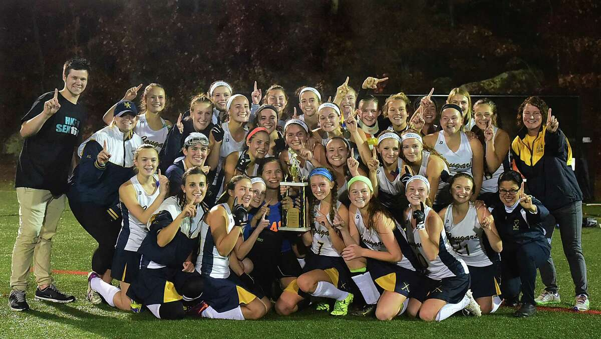 The Haddam-Killingworth Cougars defeated the North Branford Thunderbirds, 3-2, in the SLC field hockey championship, Thursday, November 5, 2015 at the Indian River Athletic Complex in Clinton. (Catherine Avalone/New Haven Register)