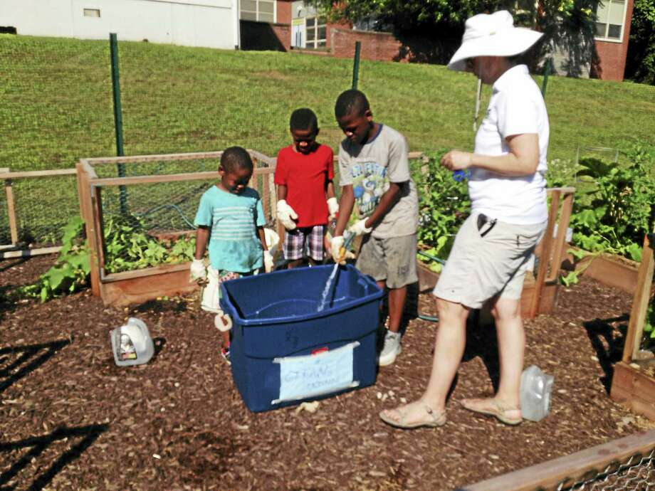 Brian Zahn / Hearst Connecticut Media   Brothers Jeremiah Ogman, 4, Jordan Stanley, 8, and James Stanley, 10, help to sustain plants in a garden outside West Rock STREAM Academy under the supervision of Lisa Metters, a supervisor and trainer for the regular after-school program. Photo: Digital First Media
