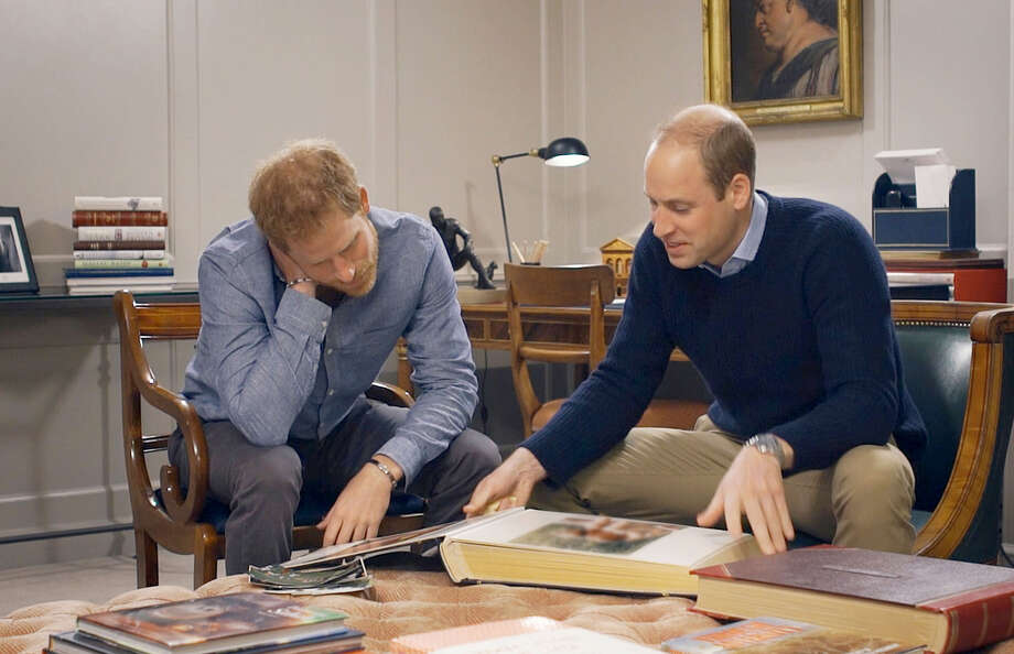 "(L-r) Prince Harry of Wales and Prince William, Duke of Cambridge, discuss their late mother in the HBO documentary ""Diana, Our Mother: Her Life and Legacy."" (Photo credit: HBO) Photo: HBO / HBO"