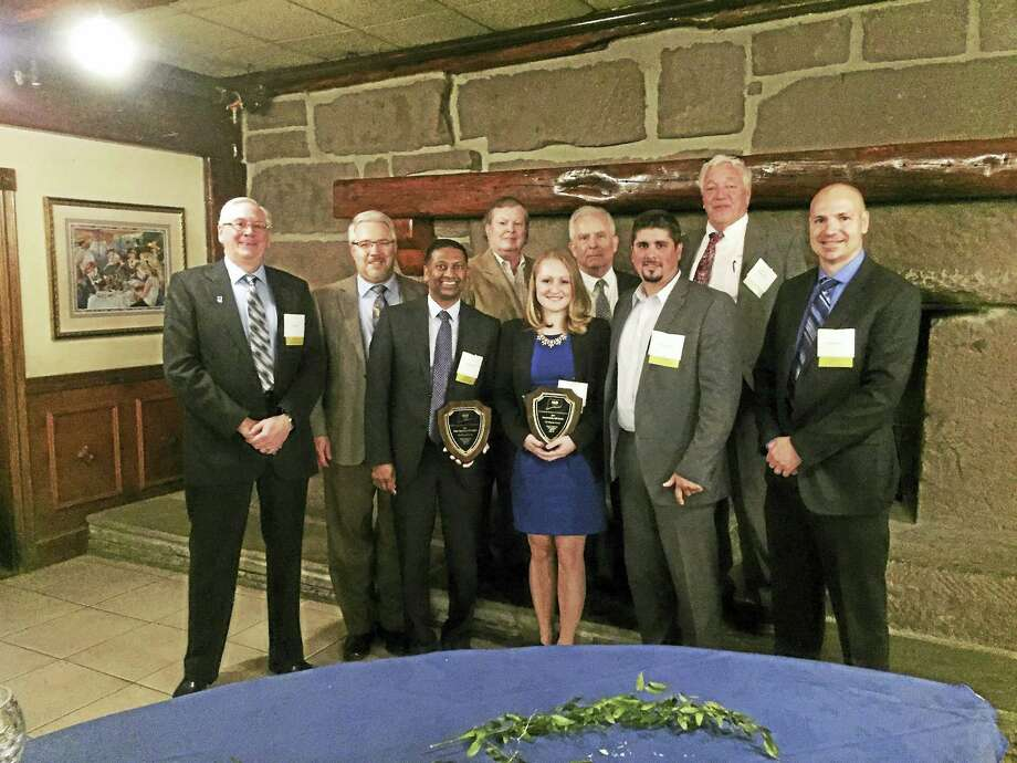 CONTRIBUTED PHOTOMilone & MacBroom and project partners City of Meriden, AECOM, and CES Inc. received the Water Resources ACE Award. Photo: Digital First Media