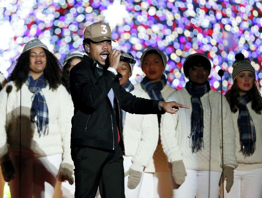 This Dec. 1, 2016 photo shows Chance the Rapper performing during the lighting ceremony for the 2016 National Christmas Tree in Washington. Photo: AP Photo — Alex Brandon, File   / Copyright 2017 The Associated Press. All rights reserved.