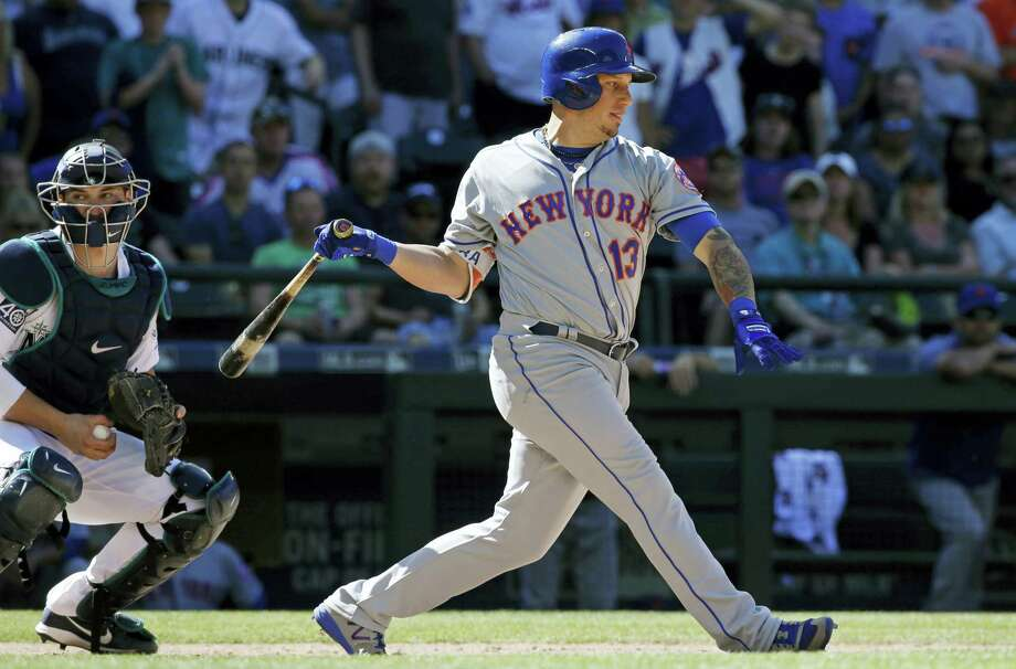 The Mets' Asdrubal Cabrera strikes out in the ninth inning on Saturday. Photo: Ted S. Warren — The Associated Press   / Copyright 2017 The Associated Press. All rights reserved.
