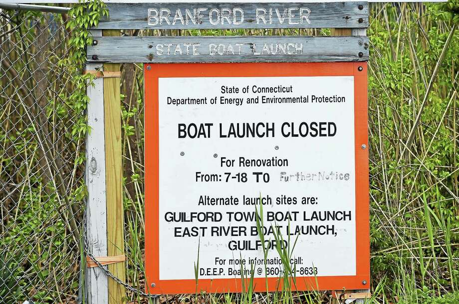Sign at the construction site of the Branford River State Boat Launch on Goodsell Point Road by the Branford River. Photo: Peter Hvizdak / Hearst Connecticut Media FILE   / ?2016 Peter Hvizdak