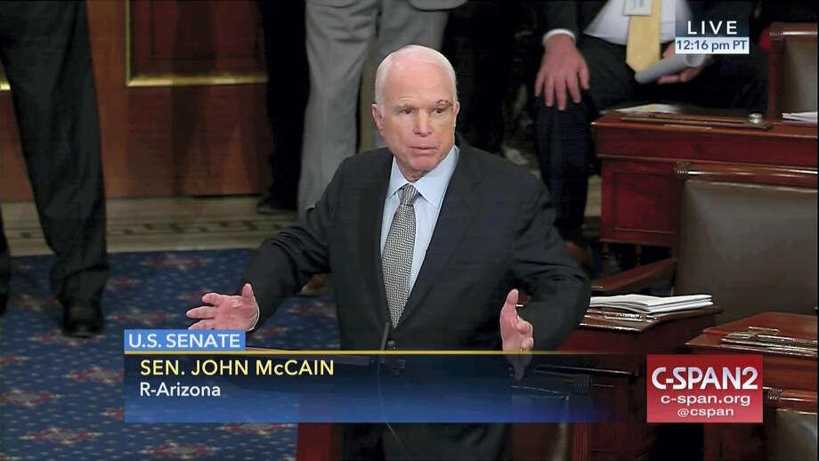 C-SPAN2 via associated press   Sen. John McCain, R-Ariz. speaks the floor of the Senate on Capitol Hill in Washington. Photo: AP / C-SPAN2