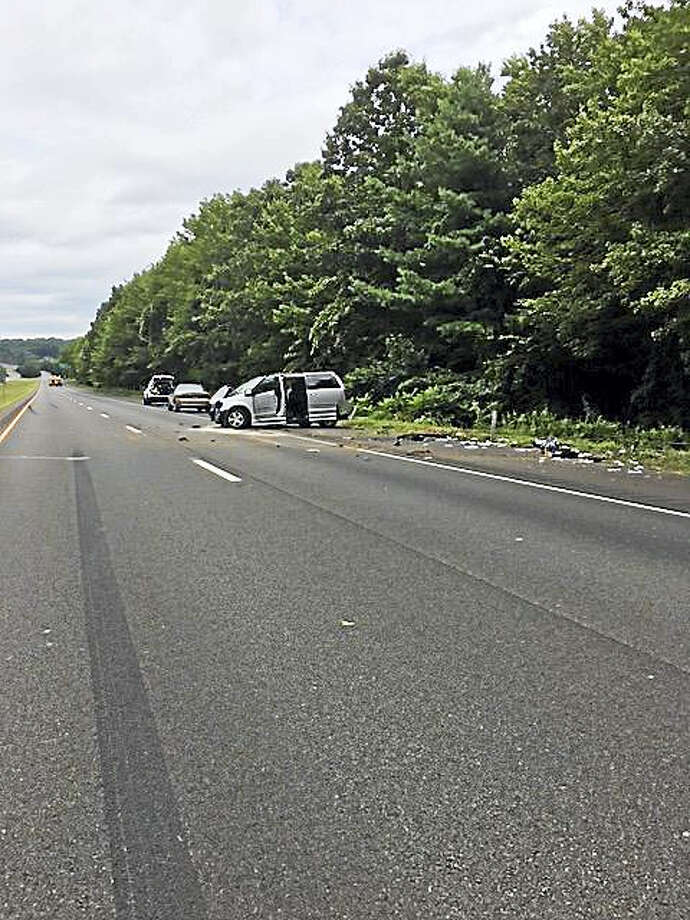 Route 8 in Shelton is closed following a serious rollover accident. Photo: Courtesy Of State Police