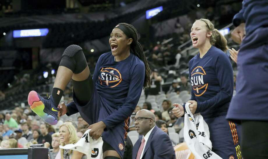Connecticut Sun forward Jonquel Jones, left, drew praise from former Huskies at Saturday's All-Star game. Photo: The Associated Press File Photo   / Copyright 2017 The Associated Press. All rights reserved.