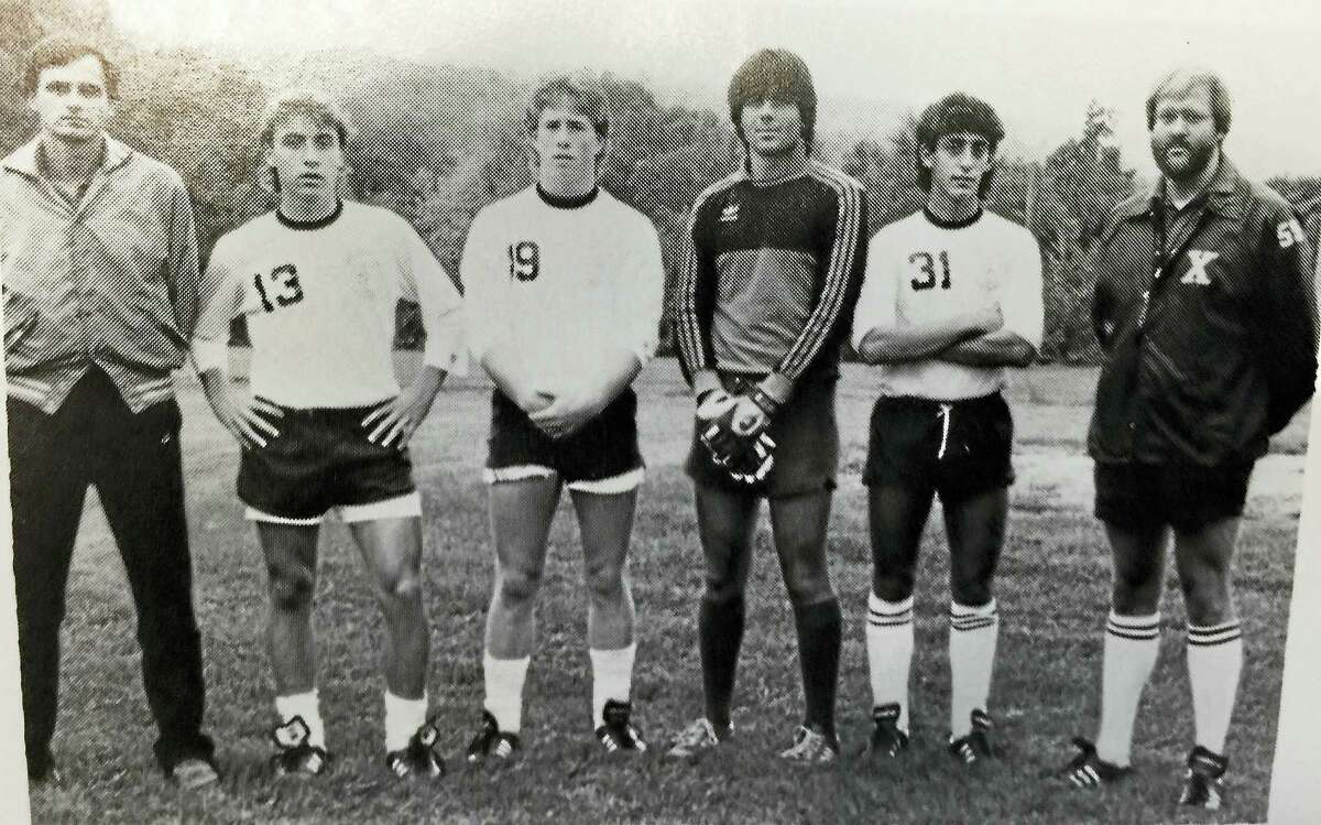 Jeff Bagwell, third from left, with 1985 Xavier High soccer teammates, from left, head coach Marty Ryczek, Pat McHugh, Bagwell, David Sizemore, Seb Fazzino and assistant coach Jack King.