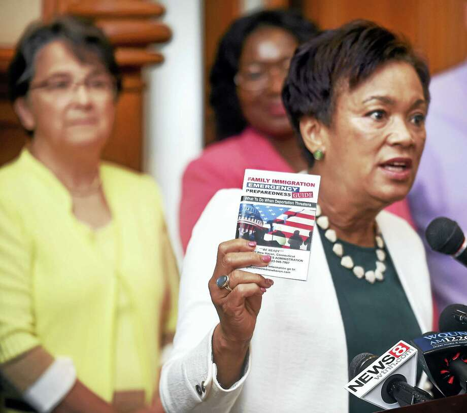 A Family Immigration Emergency Preparedness Guide was unveiled by New Haven Mayor Toni Harp at City Hall in New Haven Tuesday. Photo: Arnold Gold / Hearst Connecticut Media