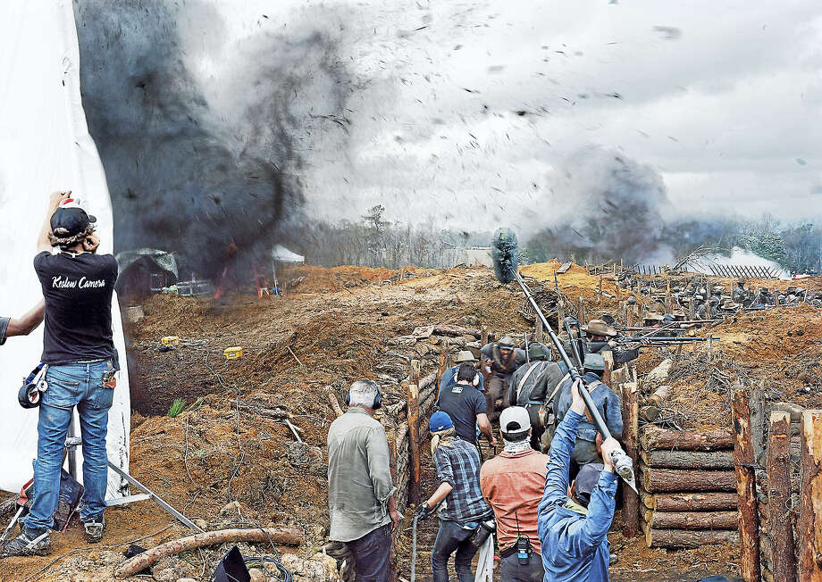 "An-My Lê's ""Film Set ('Free State of Jones'), Battle of Corinth, Bush, Louisiana, 2015."" Photo: YUAG Photo Courtesy Of STX Entertainment"