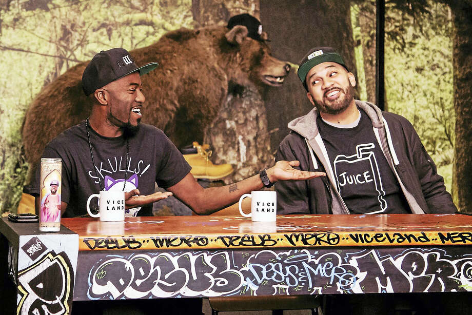 """Desus Nice and The Kid Mero on the set of their Viceland late-night show """"Desus & Mero."""" Photo: Viceland   / Viceland"""