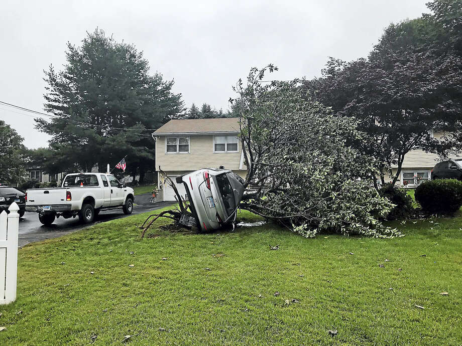 Photo by Jessica LernerA car went off the road and caught the tree sideways before flipping over and uprooting the tree. Photo: Digital First Media