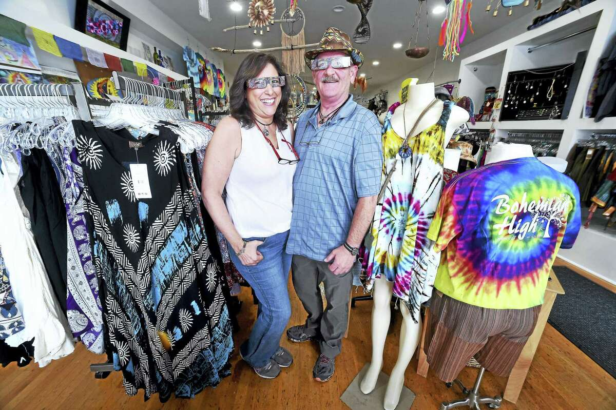 arnold Gold / Hearst Connecticut Media Gloria Krouch and her husband, Richard, are photographed in their new store, Bohemian High, at 156 Bridgeport Ave., in Milford on Friday.